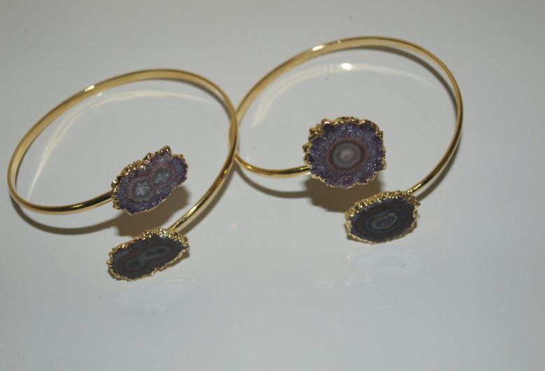 Stones from Uruguay - Double Amethyst Stalatite Bracelet, Gold Electroplated,Quality A