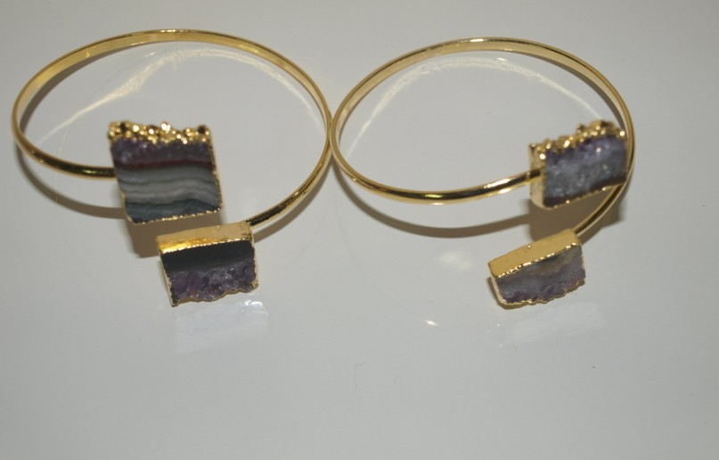 Stones from Uruguay - Double Amethyst Rectangle Slice Bracelet, Gold Electroplated, 20mm Size