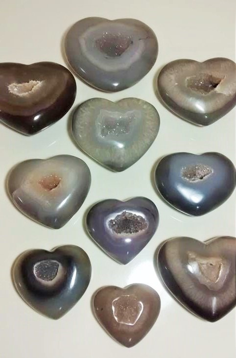 Stones from Uruguay - Agate Druzy Hearts