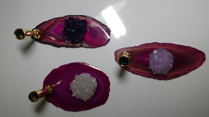 Stones from Uruguay - Pink Agate Slice Pen Holder with Amethyst Rose