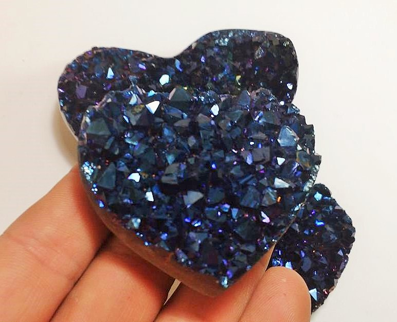 Stones from Uruguay - Blue Cobalt Titanium  Royal Aura Amethyst Druzy Heart for Home and Decor