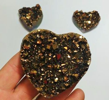 Stones from Uruguay - Old Gold Titanium  Aura Amethyst Clusters for Home