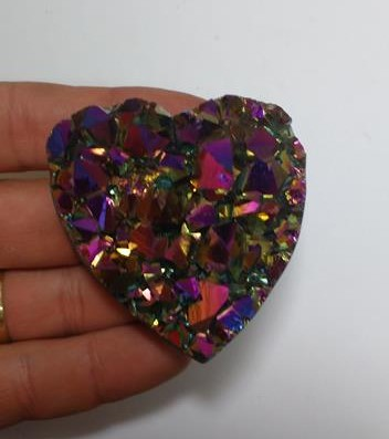 Stones from Uruguay - Pink Rainbow Titanium Aura Amethyst Druzy Heart for Decoration