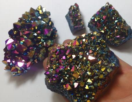 Stones from Uruguay - Pink Rainbow Aura Titanium Amethyst Druzy for Decoration and Gift