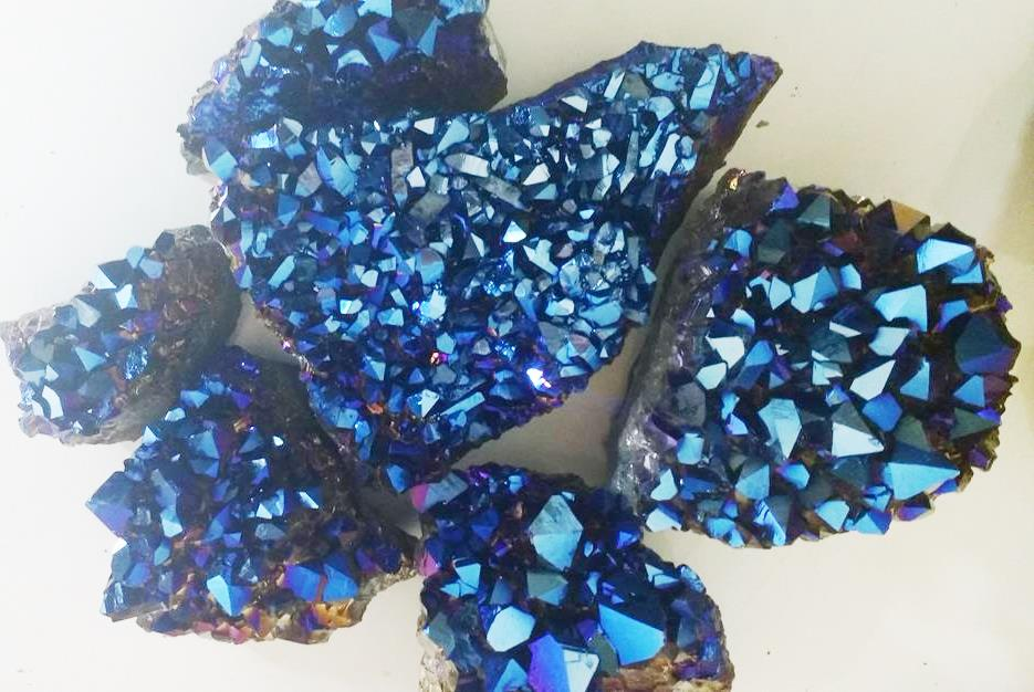 Stones from Uruguay - Cobalt Titanium Royal Aura Amethyst Druzy for Home and Decor