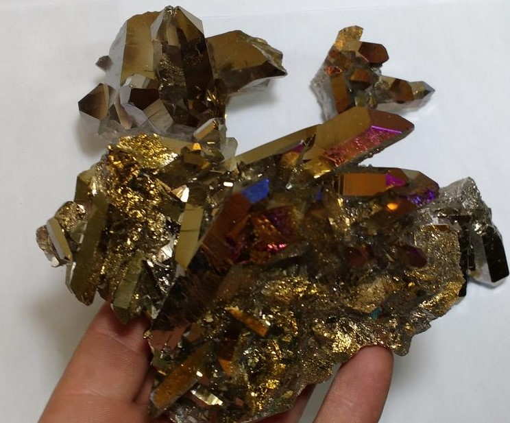Stones from Uruguay - Old Gold Titanium Flame Aura Crystal Clusters, Old Gold  Titanium Royal Aura Crystal Druses