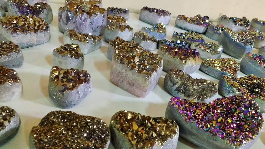 Stones from Uruguay - Titanium Amethyst Quartz Crystal Hearts, Aura Druzy Crystal Carved Hearts, Coated Cluster heart gifts