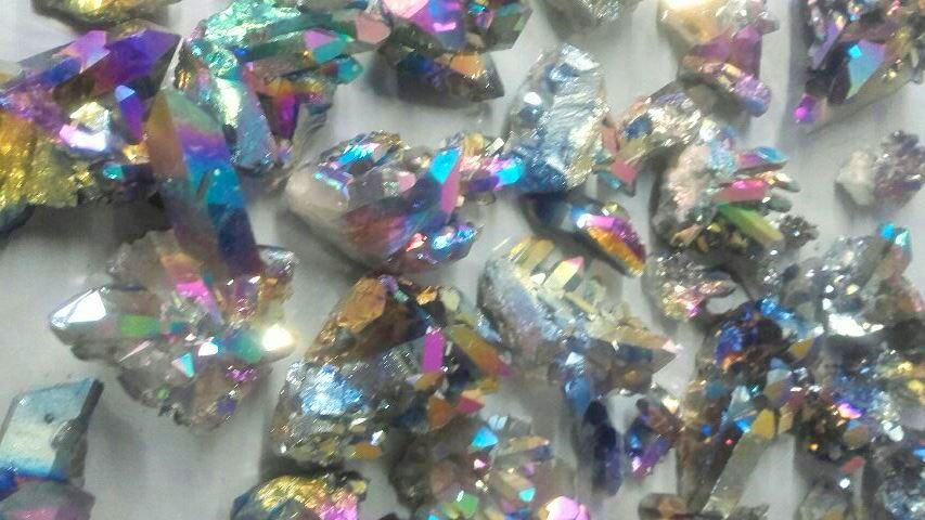 Stones from Uruguay - Pink Rainbow Aura Crystal Clusters