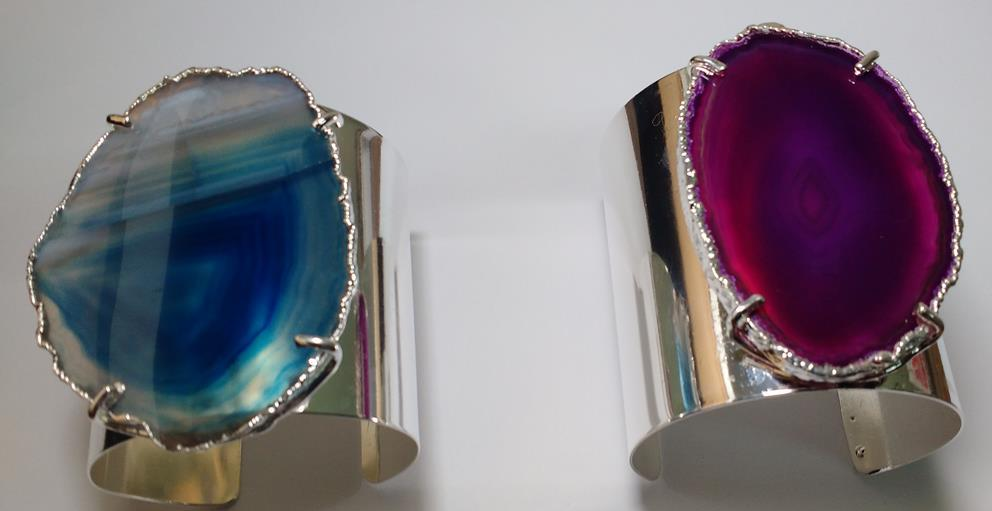 Stones from Uruguay - Agate Slices Cuff Bracelets