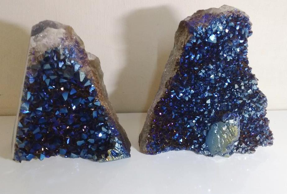 Stones from Uruguay - Cobalt Blue Flame Aura Amethyst Cut Base