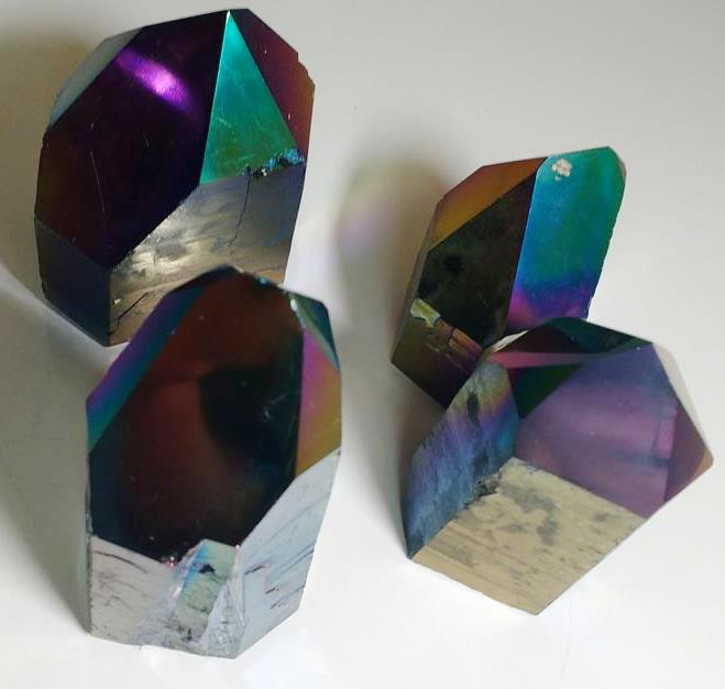Stones from Uruguay - Rainbow Aura Top Polished Cut Base Crystal Point
