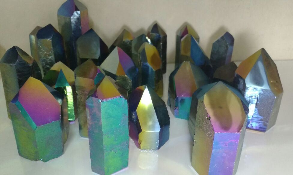Stones from Uruguay - Rainbow Aura Quartz Crystal Point with Cut Base for Home and Decoration