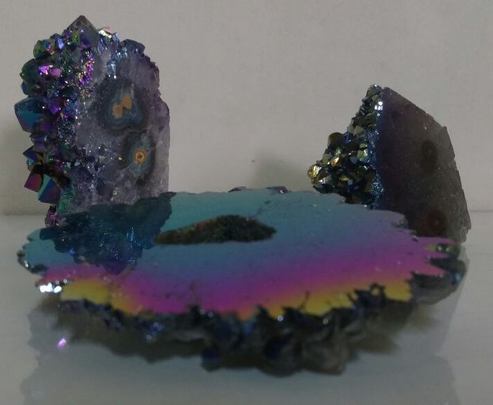 Stones from Uruguay - Rainbow Aura Amethyst Stalactite Eyes for Decoration or Gift