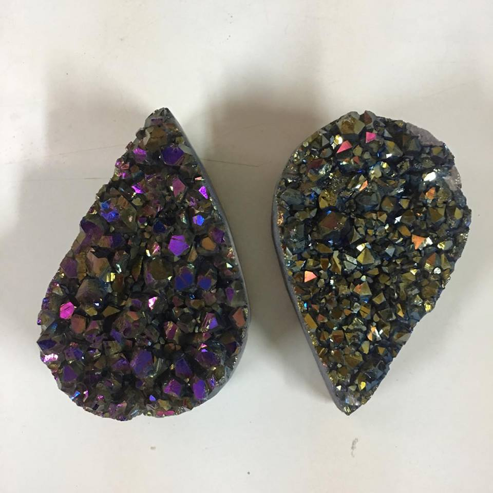 Stones from Uruguay - Rainbow Aura Amethyst Druzy Teardrop for Gift and Home