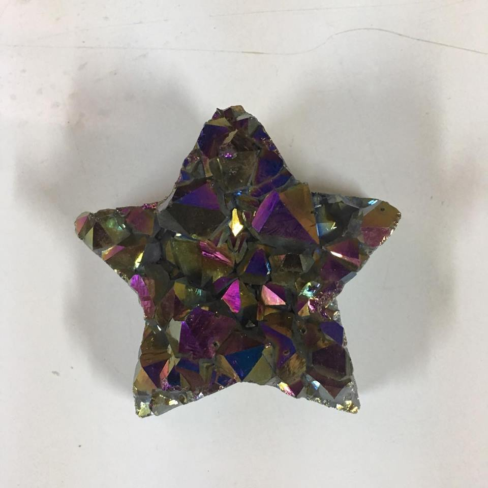 Stones from Uruguay - Rainbow Aura Amethyst Druzy Star for Home and Decoration