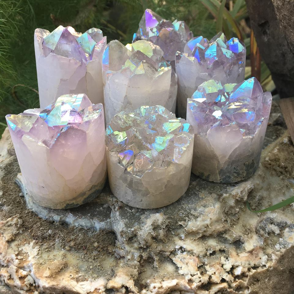 Stones from Uruguay - Angel Aura Amethyst Druzy Cylinder for Meditation and Decoration
