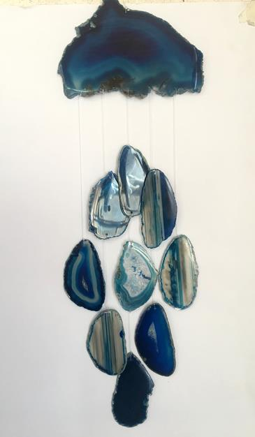 Stones from Uruguay - Brazilian Blue Agate Slab Wind Chime for Garden or Gift(DC012)