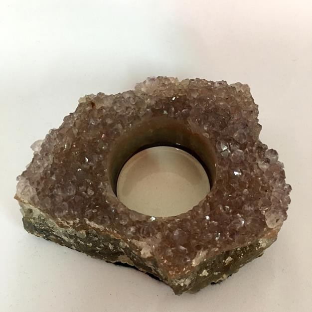 Stones from Uruguay - Amethyst Druzy Candle Holder