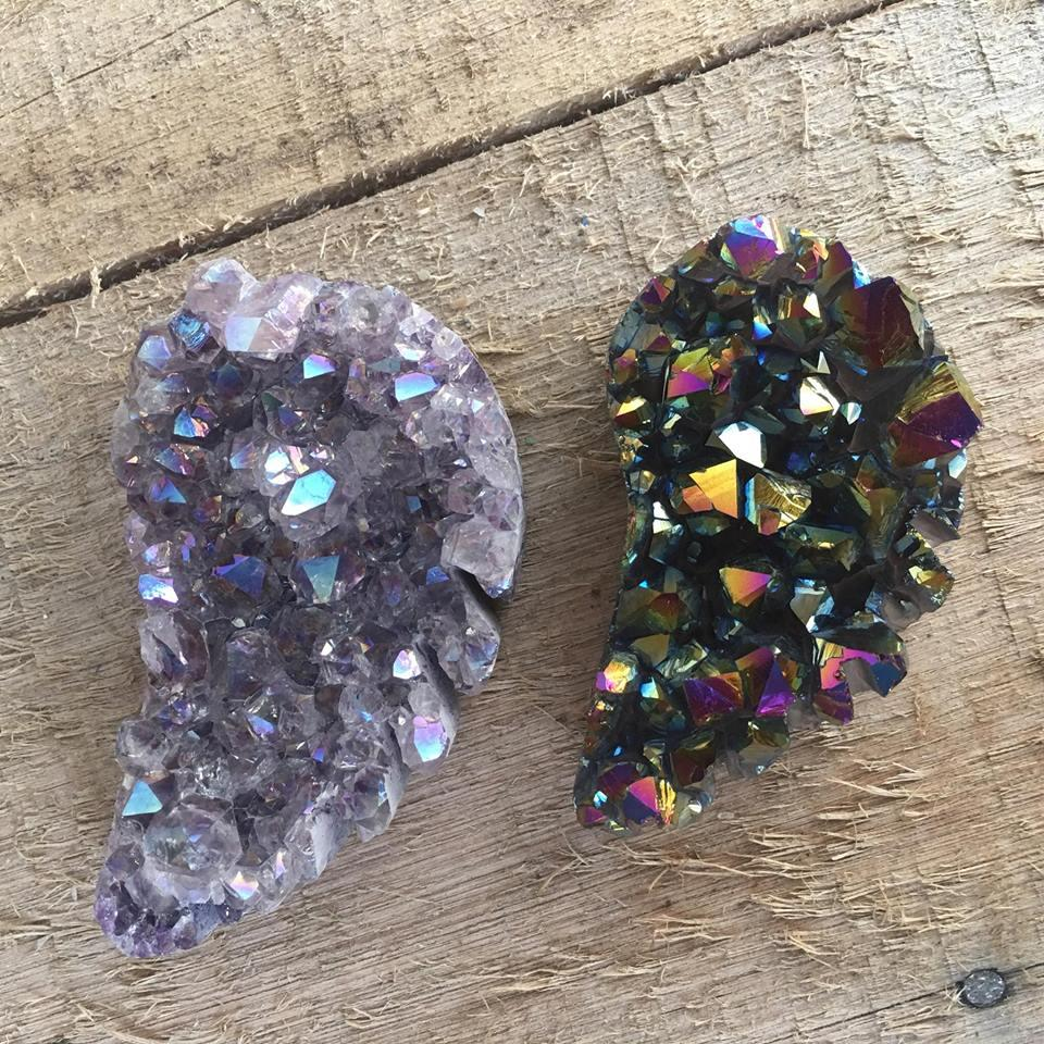 Stones from Uruguay - Rainbow  and Angel Aura Amethyst Druzy Angel Wing for Decor and Home
