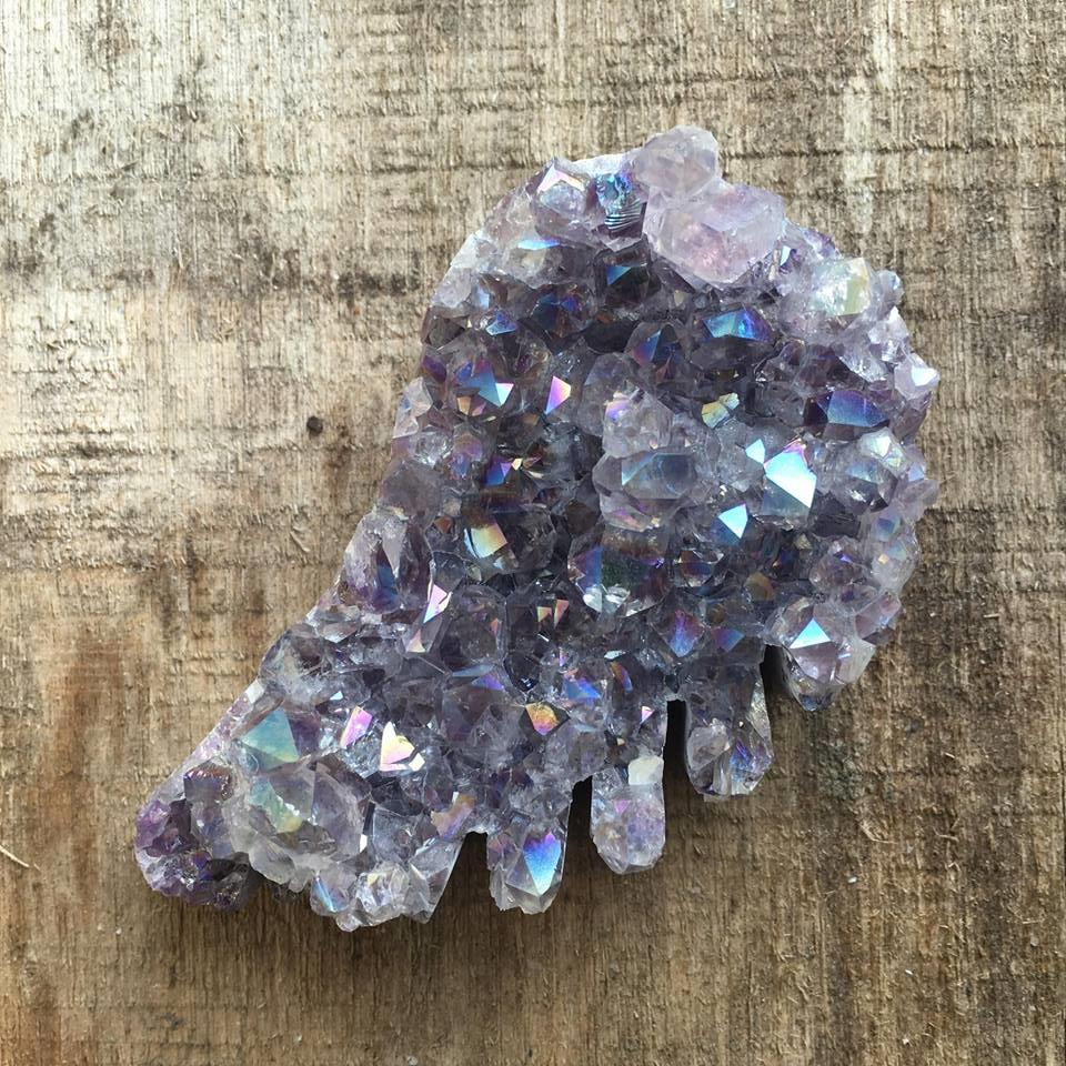 Stones from Uruguay - Angel Aura Amethyst Druzy Wing for Gift  or Home