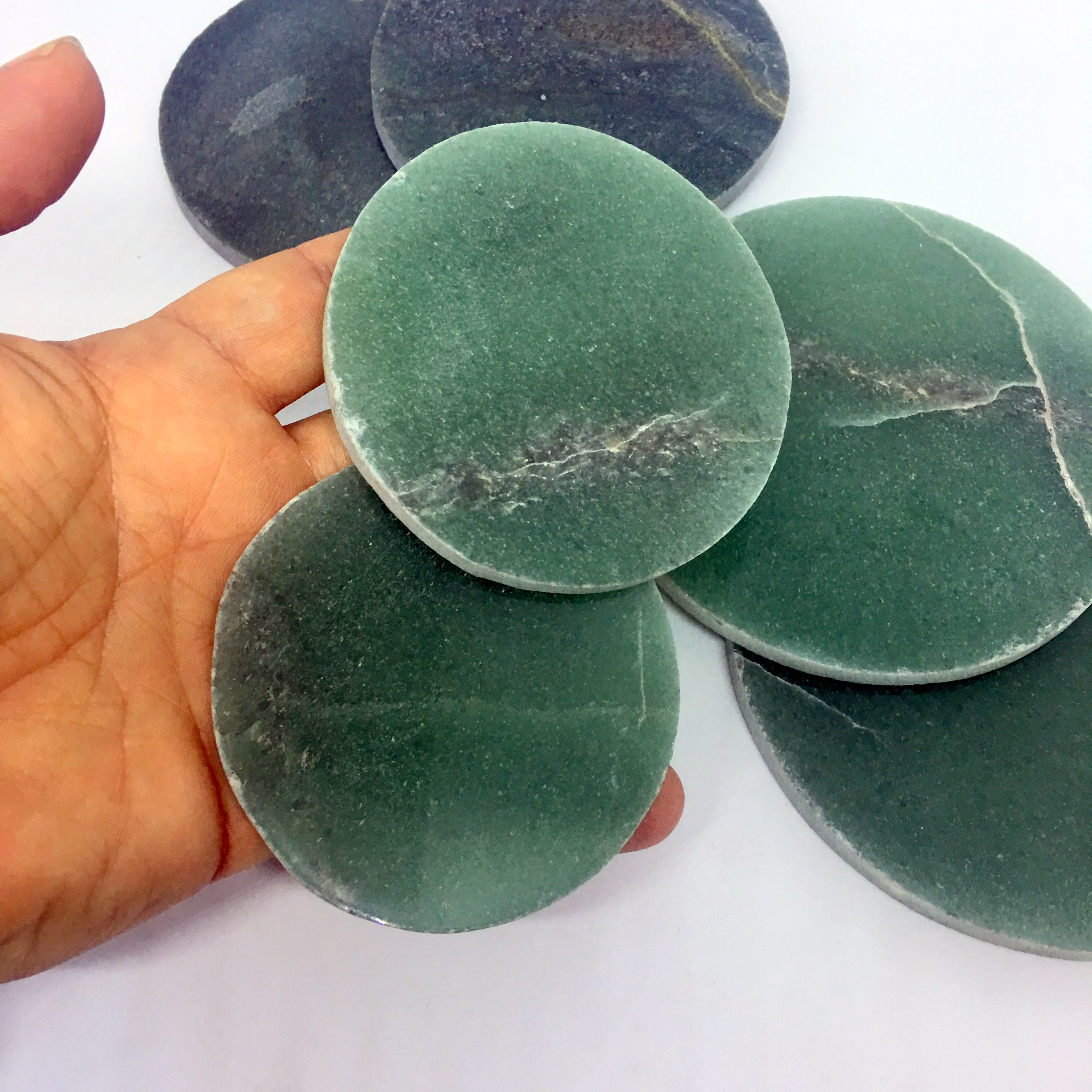 Stones from Uruguay - Green Quartz Coasters with Unpolished Edge,#4