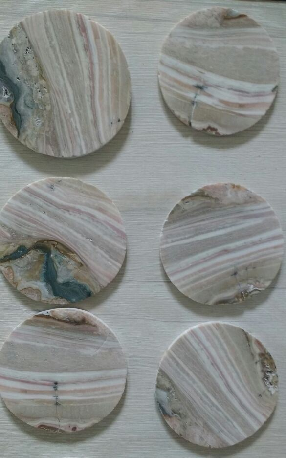 Stones from Uruguay - Cream Jasper Coasters with 6 Pieces