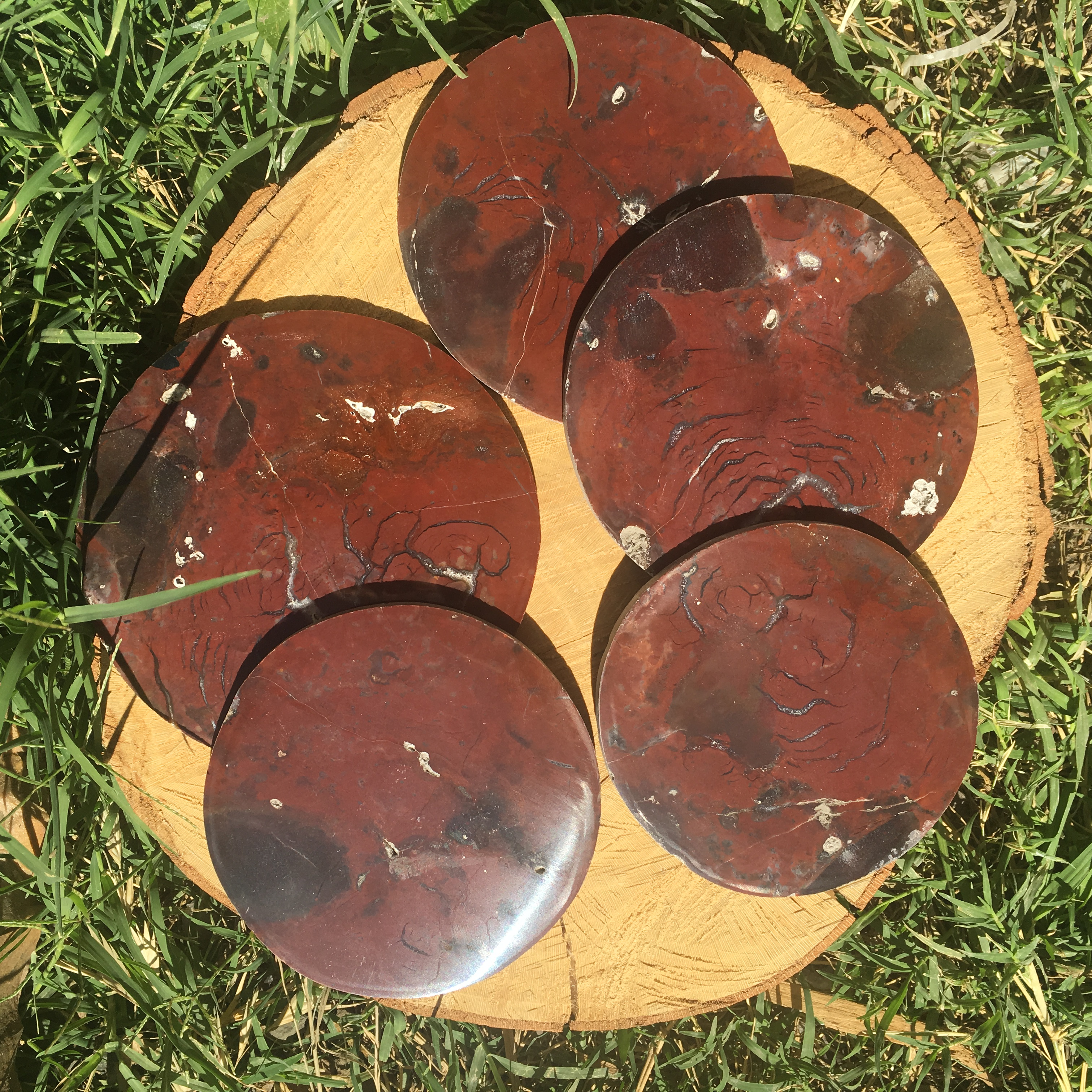 Stones from Uruguay - Pampa Red Jasper Coasters,#4 from 10 to 12cm