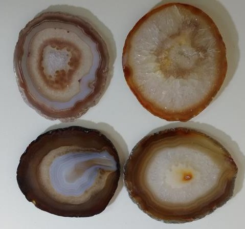 Stones from Uruguay - Natural Agate Slab Coasters with Set of Four