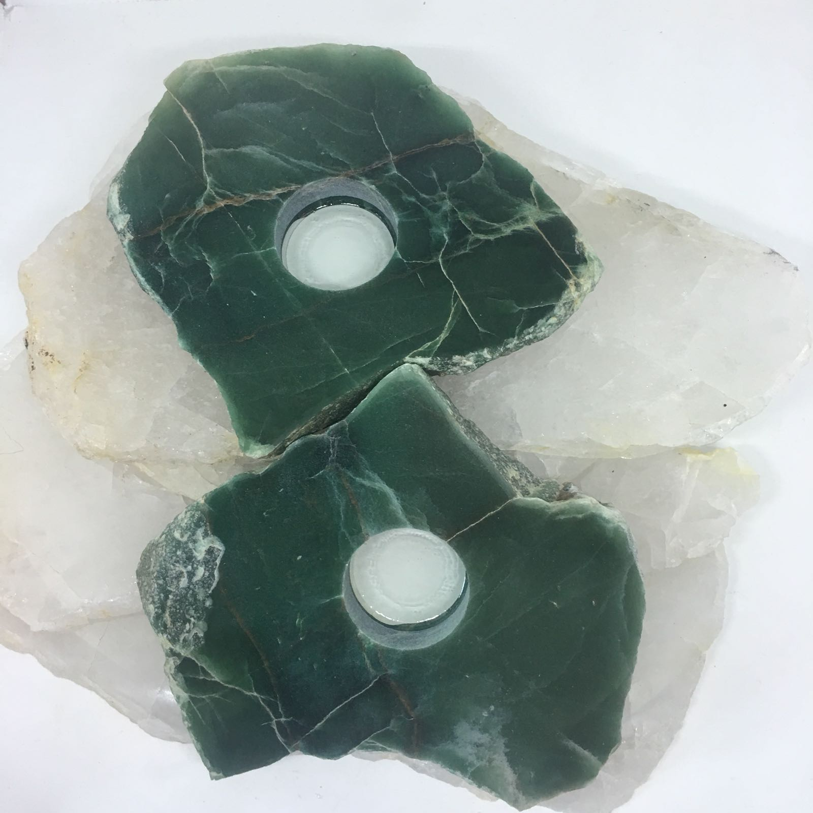 Stones from Uruguay - Polished Green Aventurine  Slice Tealight Holder Candle