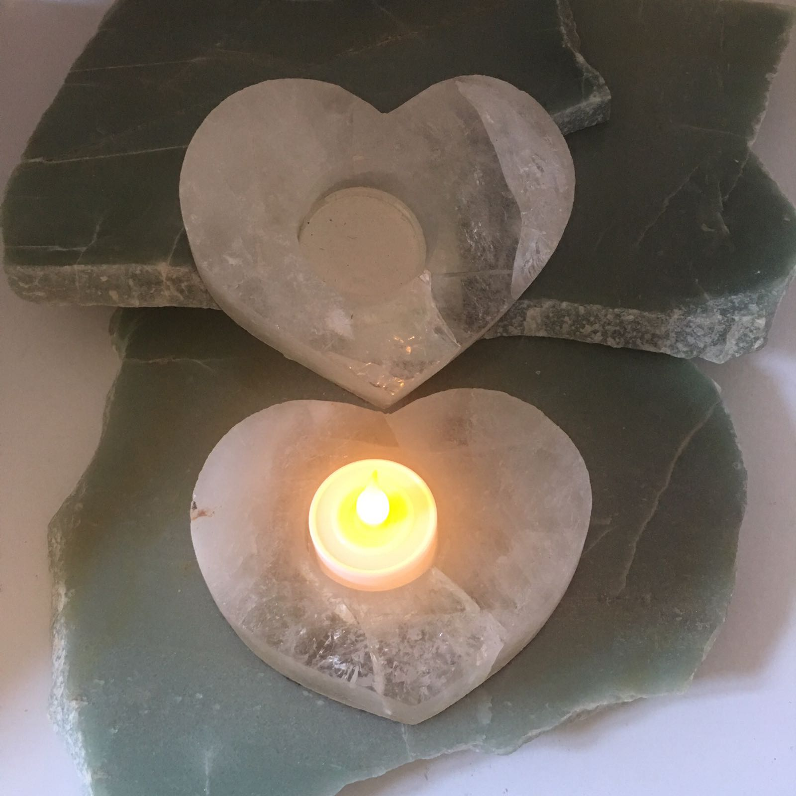 Stones from Uruguay - Smoky Quartz Heart  Candle Holder