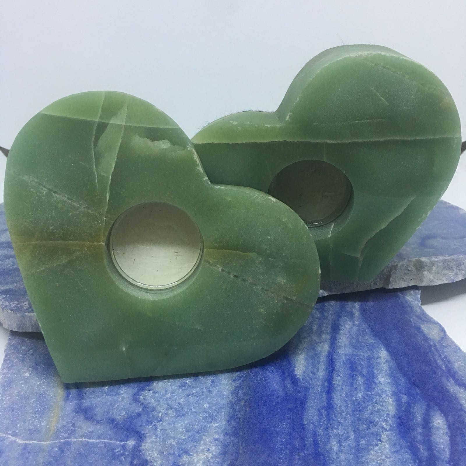 Stones from Uruguay - Green Aventurine Heart Candle Holder