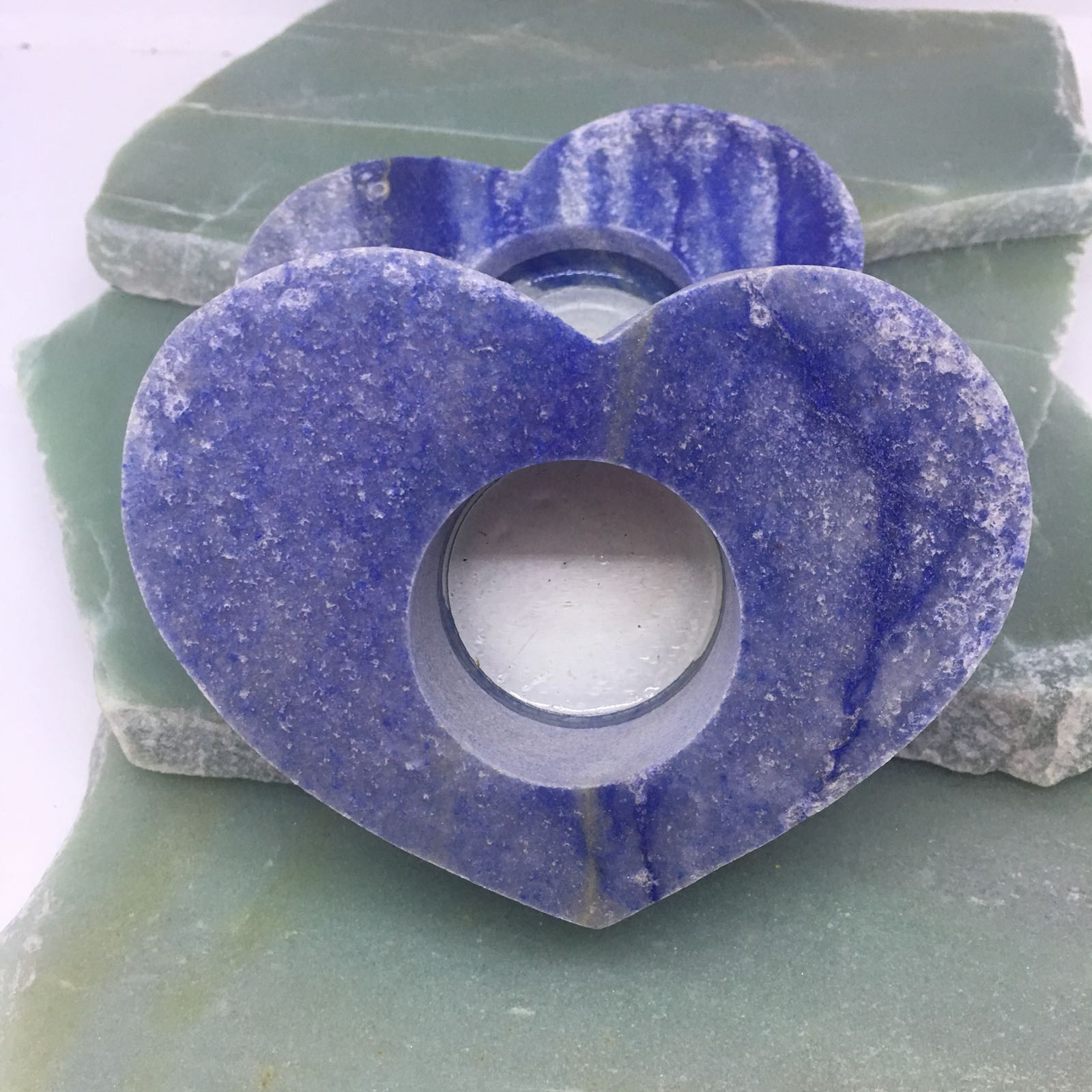 Stones from Uruguay - Blue Quartz Heart Candle Holder