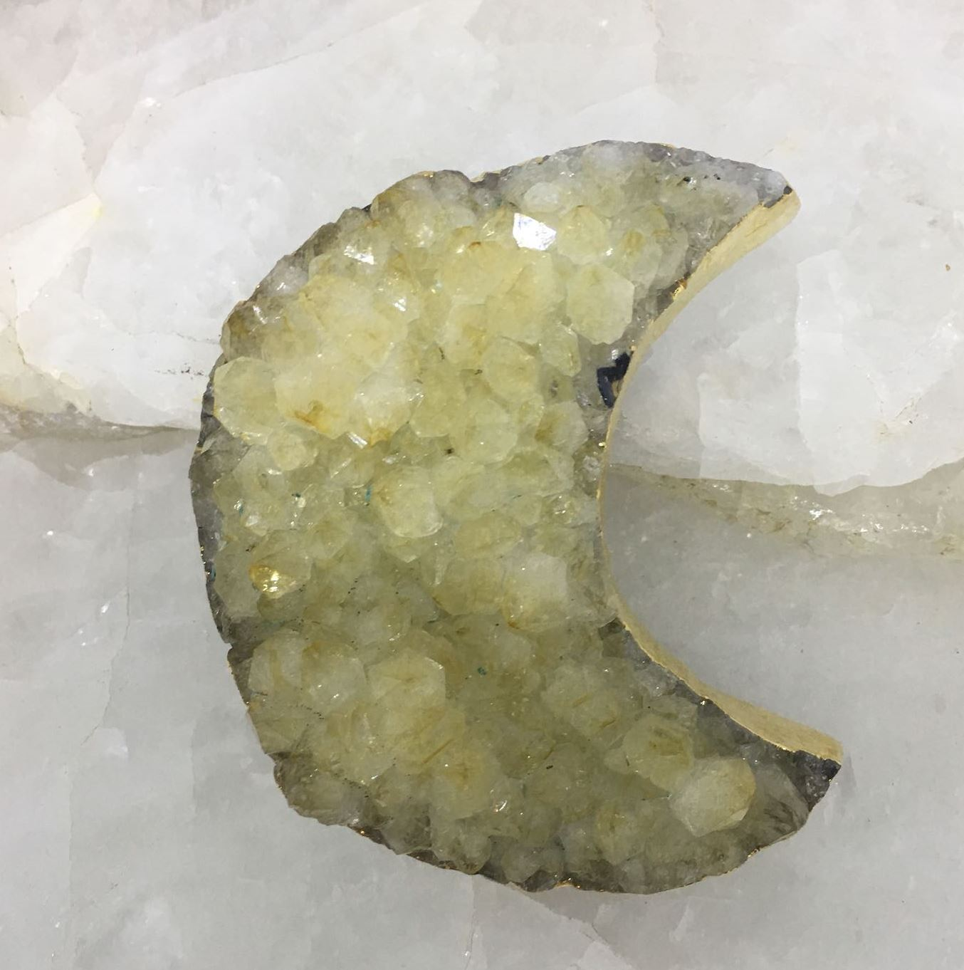 Stones from Uruguay - Plated Citrine Cluster Crescent Moon  for Decor  and Metaphysical