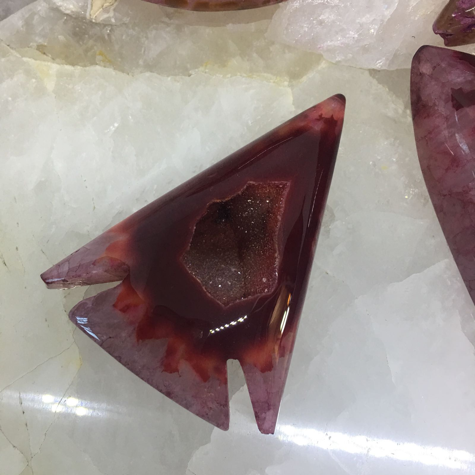 Stones from Uruguay - Blood Red Dyed  Agate Geode Arrowhead Cabochon
