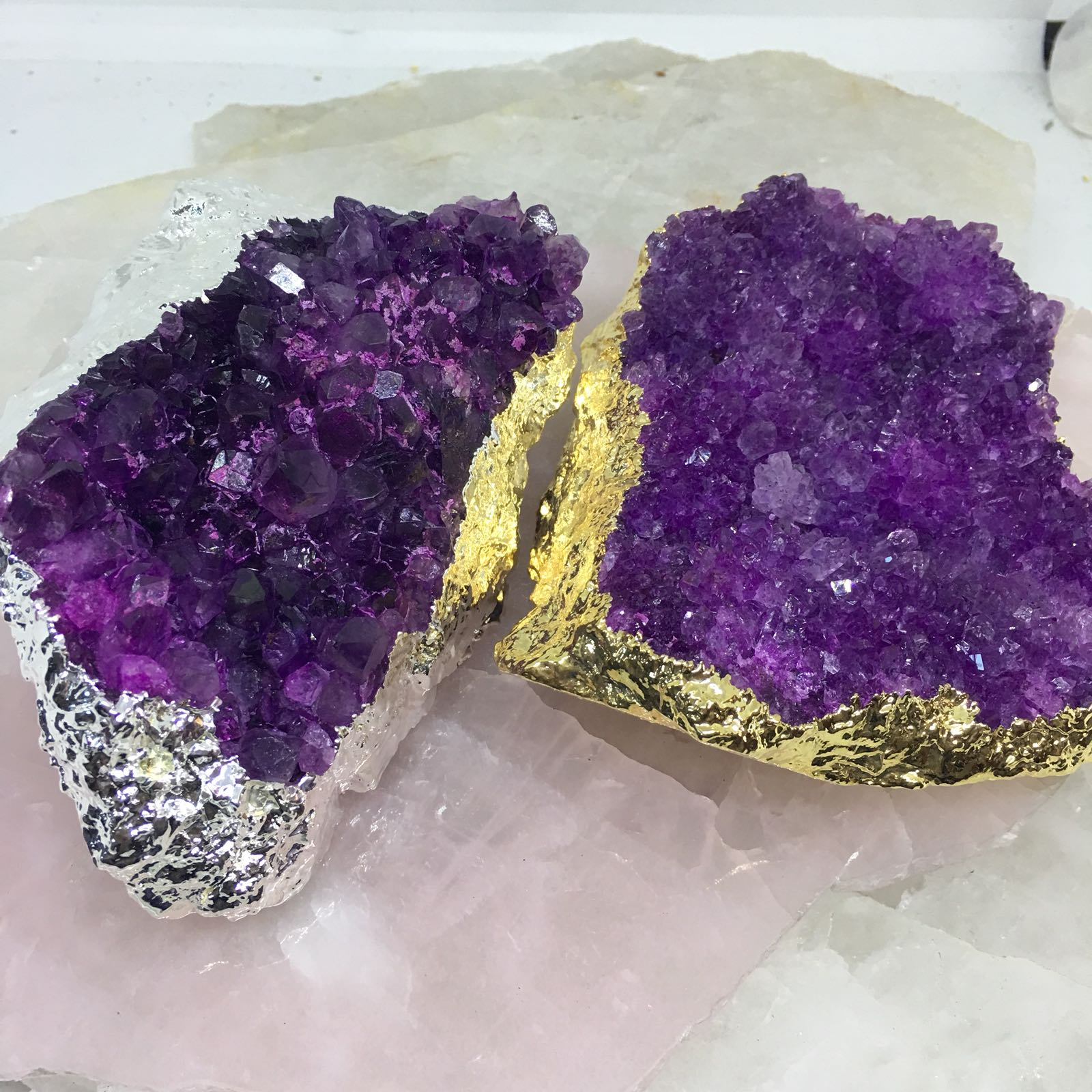 Stones from Uruguay -  Pink  Dyed Amethyst Cluster for Decor Home-Gold Plated