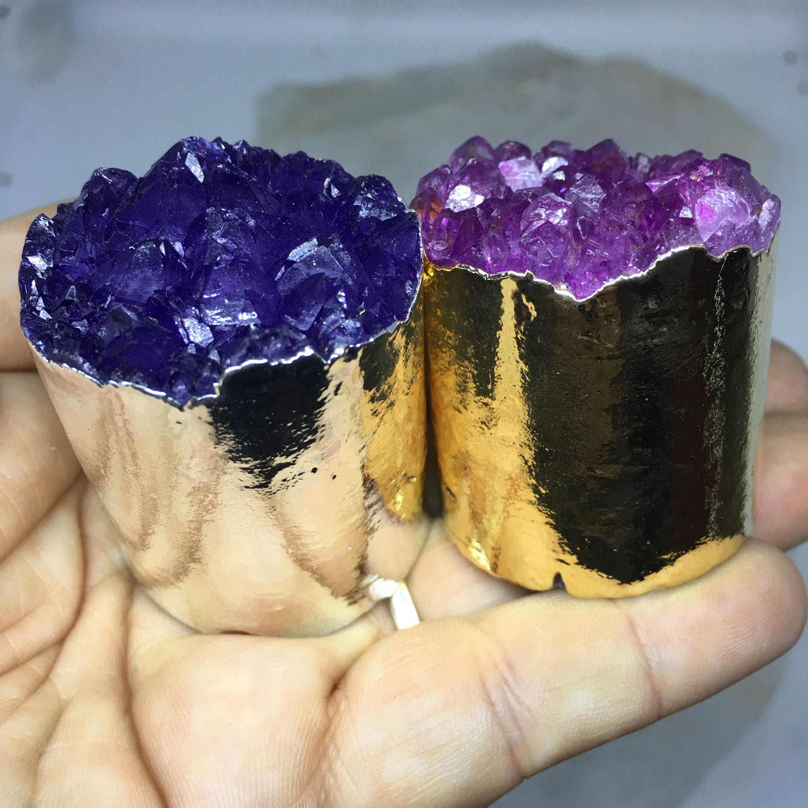 Stones from Uruguay - Plated Dyed Amethyst Cluster Cylinder