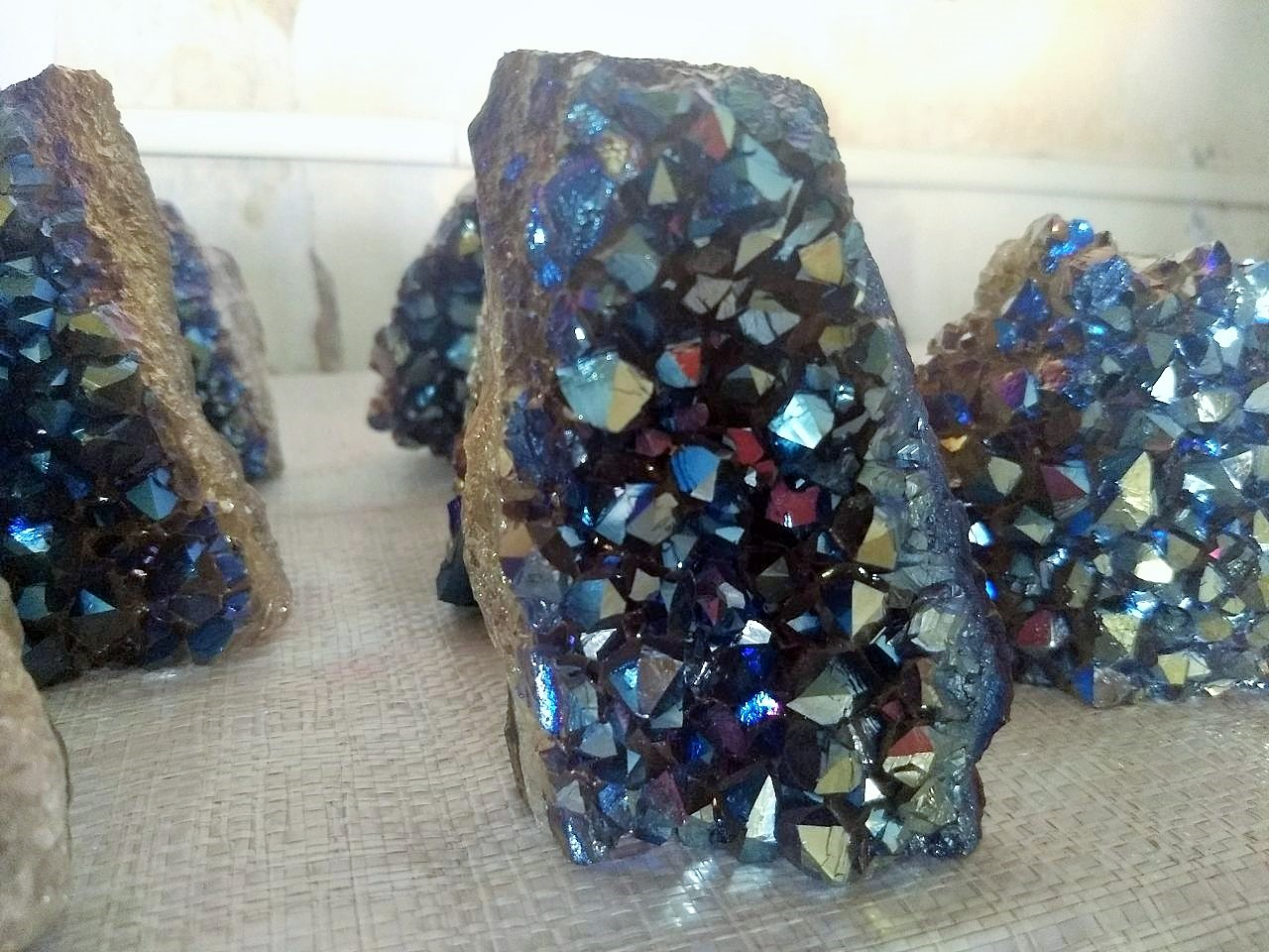 Stones from Uruguay - Cobalt Blue Titanium Amethyst Cut Base for Decor Home & Metaphysical