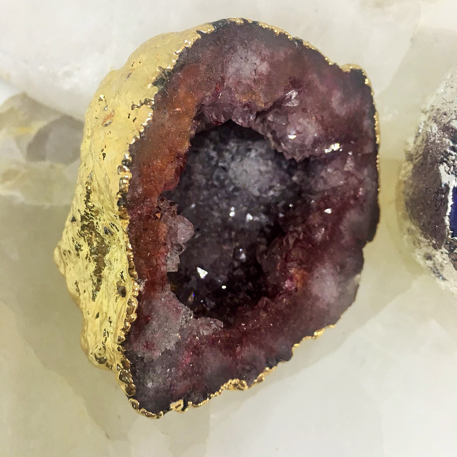 Stones from Uruguay - Blood Red Dyed Moroccan Calcite Geode -  Gold Plated