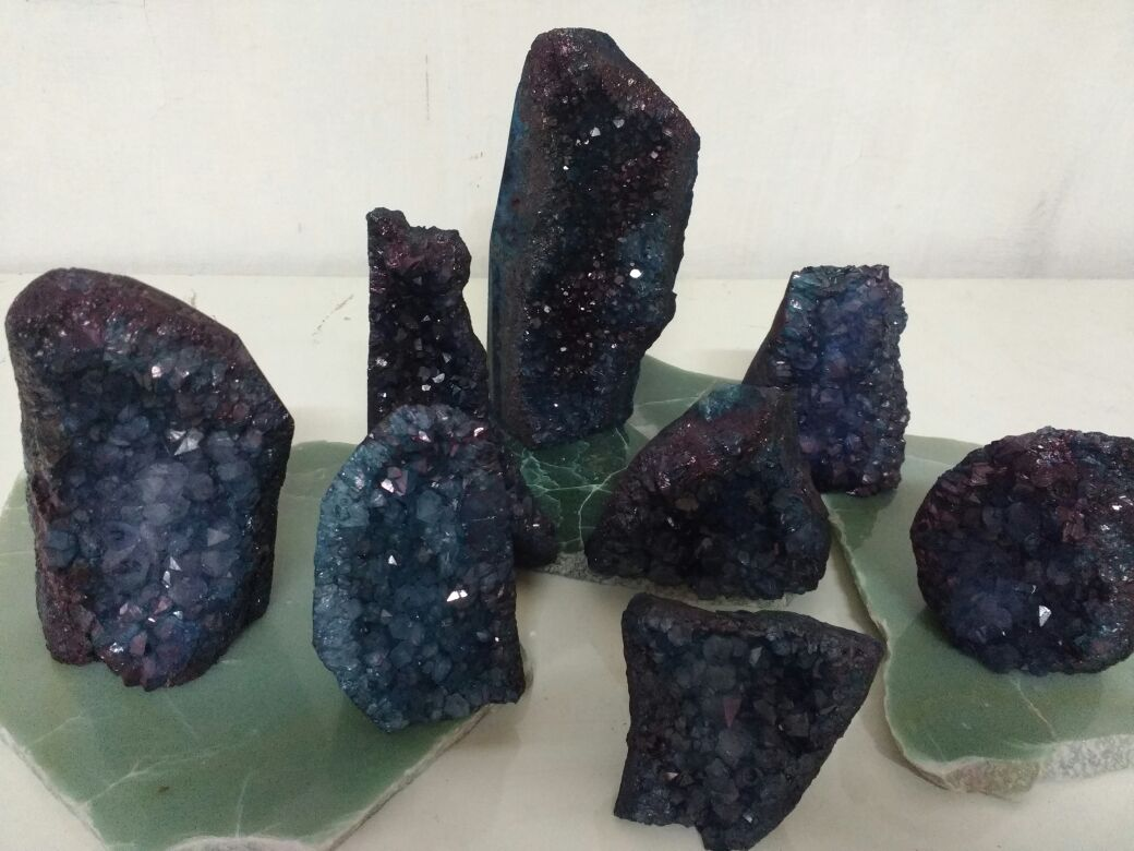 Stones from Uruguay - Teal Dyed Amethyst Cluster Cut Base from Uruguay