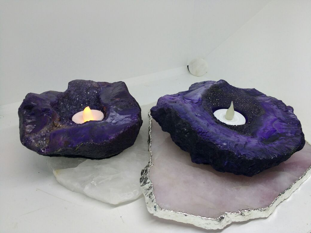 Stones from Uruguay - Purple Dyed Rough Agate Druzy Candle Holder