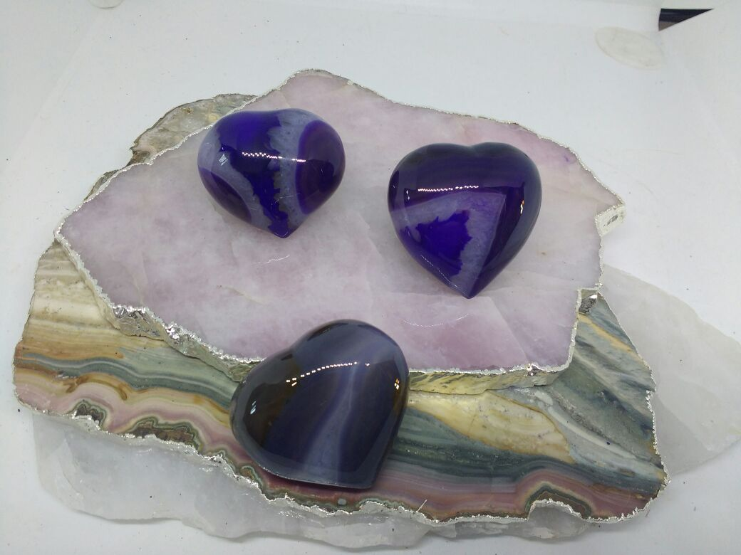 Stones from Uruguay - Purple Dyed Agate Crystal Hearts for Decor Home
