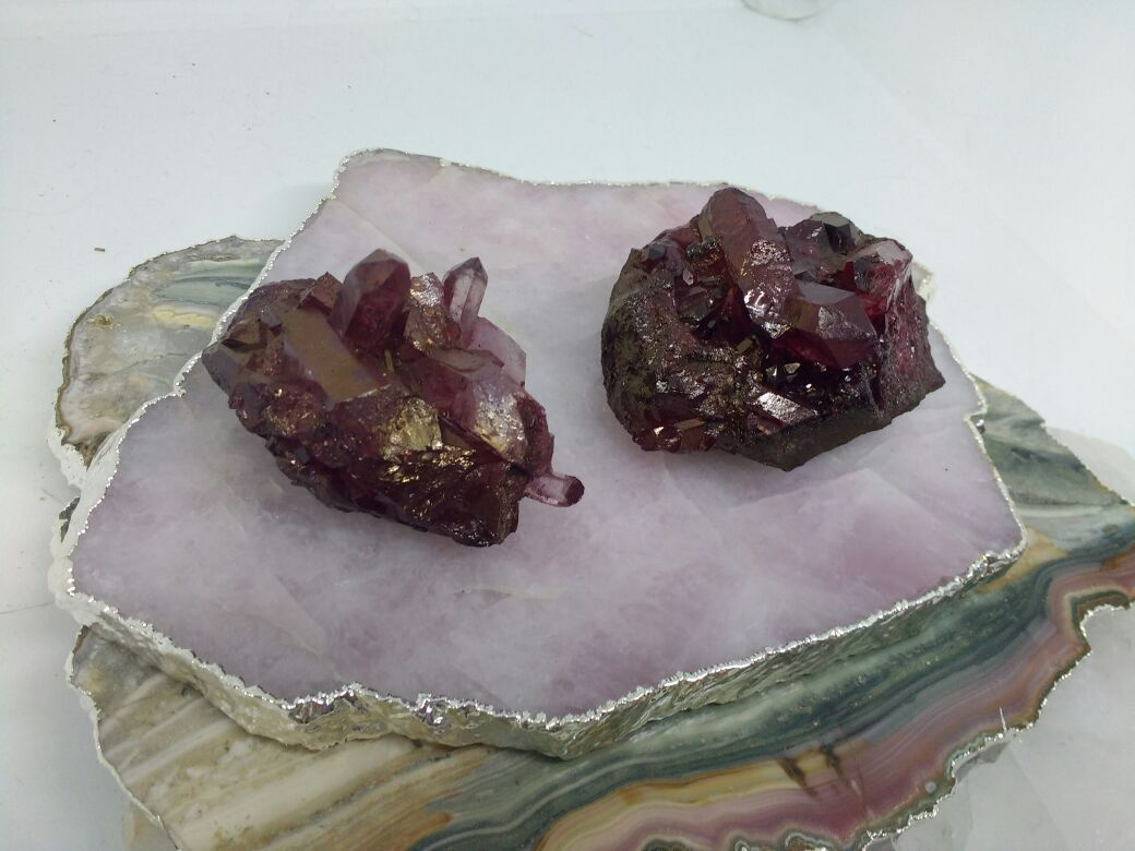Stones from Uruguay - Blood Red Dyed Clear Quartz Crystal Clusters