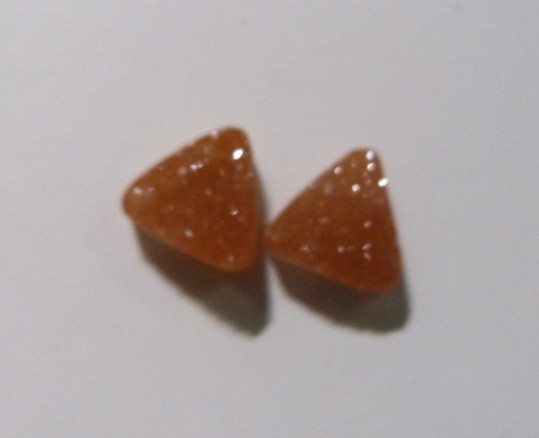 Stones from Uruguay -  Druzy Triangle Pair