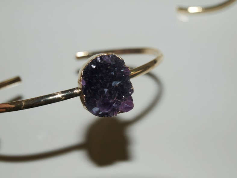 Stones from Uruguay - Bracelet with  Round Amethyst  Druzy