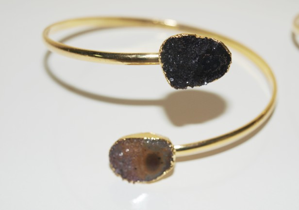 Stones from Uruguay - Bracelet of  Double Druzy with Eye and Gold Electroplating (for forearm)