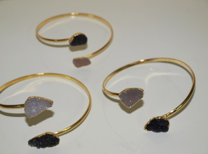 Stones from Uruguay - Bracelet of Double Druzy Free Form with Gold Electroplating( for forearm)